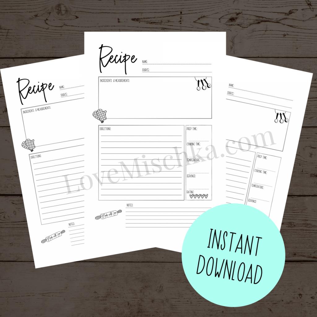 Recipe Card Printable Sheets